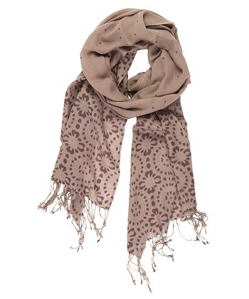 Mushroom Elliot Heads Merino Wool Scarf - Women