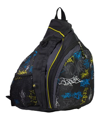 Black & Blue Tag Graffiti Sling Backpack