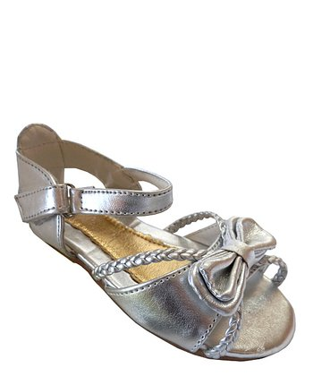 Silver Bow Ankle Strap Sandal - Toddler
