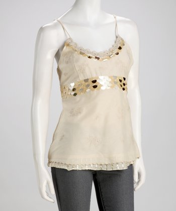 Cream Sequin Silk-Blend Camisole