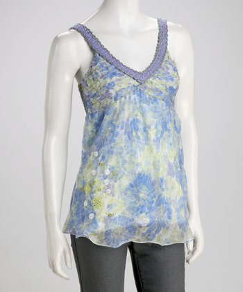 Blue Silk V-Neck Tank