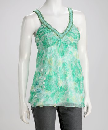 Mint Silk V-Neck Tank