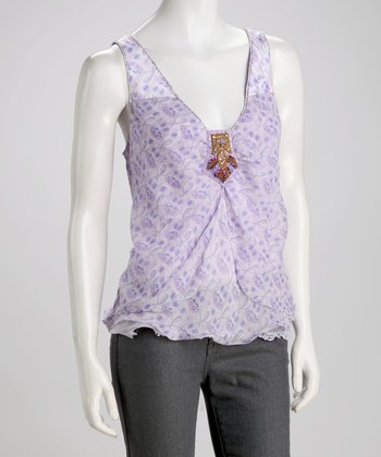 Lilac Beaded Silk-Blend Tank