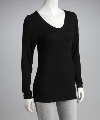 Black Long-Sleeve V-Neck Tee