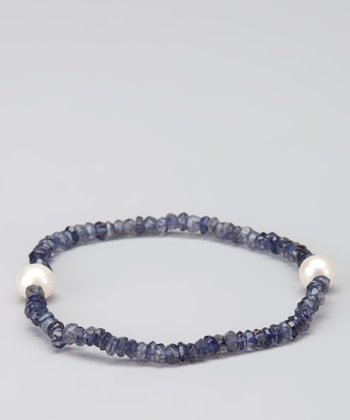 Blue Iolite & Pearl Stretch Bracelet