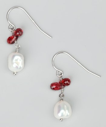 White Pearl & Red Cluster Baroque Earrings