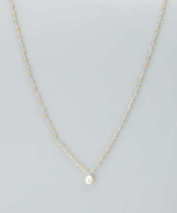 White Pearl & Citrine Necklace