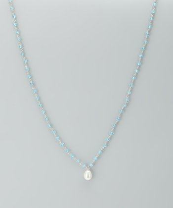White Pearl & Sky Blue Topaz Necklace