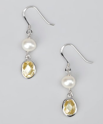 White Pearl & Yellow Dangling Gem Earrings