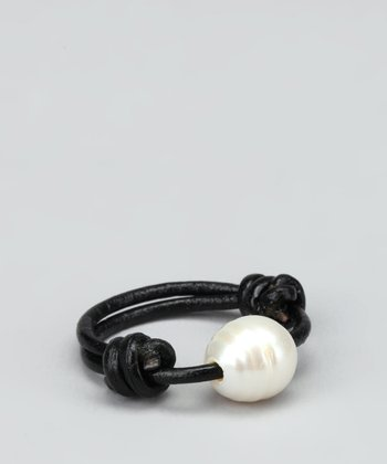White Pearl & Black Leather Ring