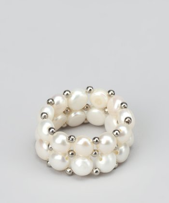 White Pearl & Sterling Silver Stretch Ring