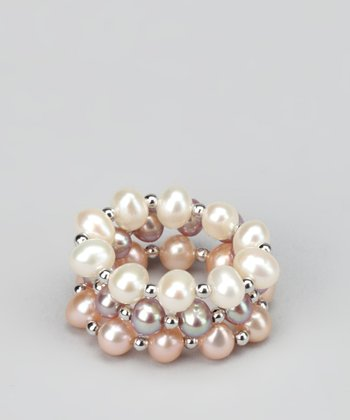 White & Peach Pearl Stretch Ring Set