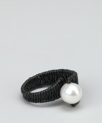 White Pearl & Black Leather Wrap-Around Ring