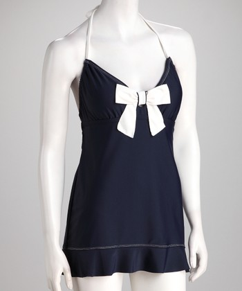 Eco Swim Midnight & Cream Bow Halter Swimdress