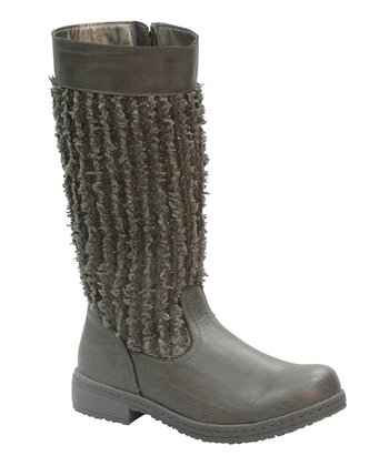 Gray Frayed Calf Boot