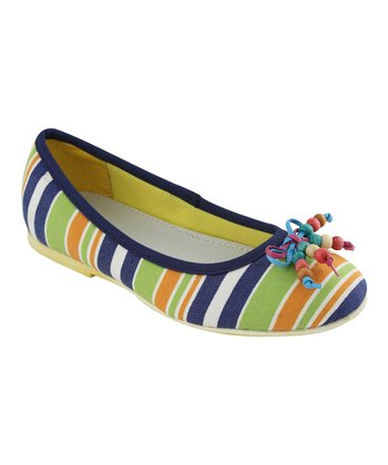 Navy Stripe Bow Ballet Flat