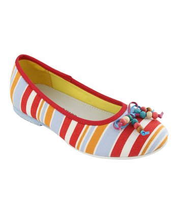 Red Stripe Bow Ballet Flat