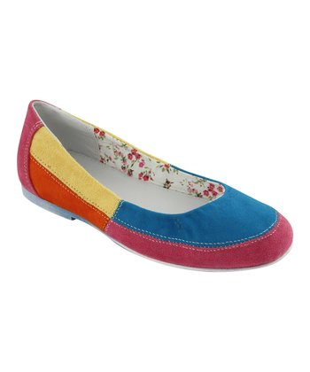 Eddie Marc Fuchsia & Blue Color Block Ballet Flat