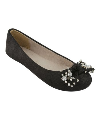 Black Metallic Bow Flat