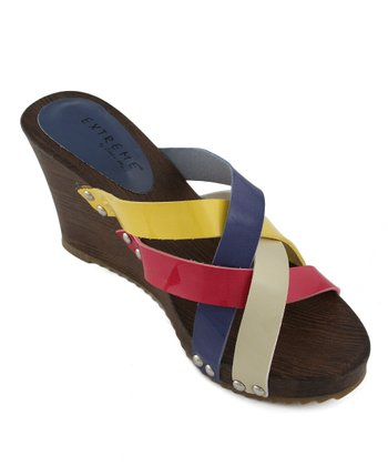 Yellow, Fuchsia & Blue Lillian Wedge