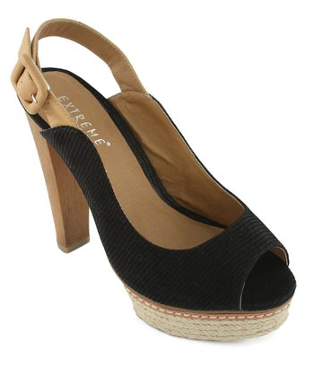 Black Sally Peep-Toe Pump