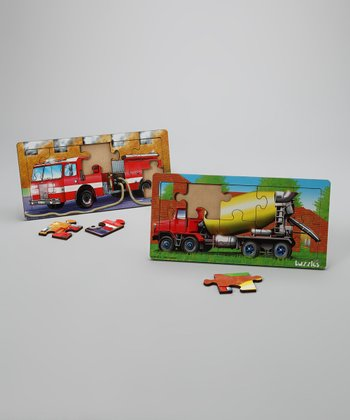 Fire Engine & Cement Mixer Tuzzles Puzzles