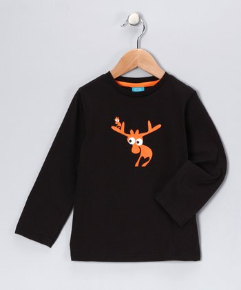 Black Evert the Moose Long-Sleeve Tee - Kids