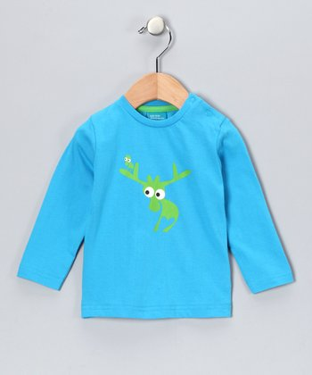 Turquoise Evert the Moose Long-Sleeve Tee - Infant & Kids