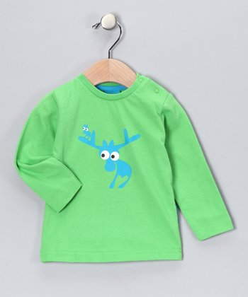 Green Evert the Moose Long-Sleeve Tee - Kids