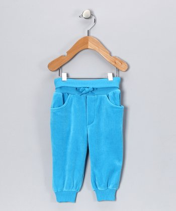 Turquoise Evert the Moose Velour Sweatpants - Toddler & Kids