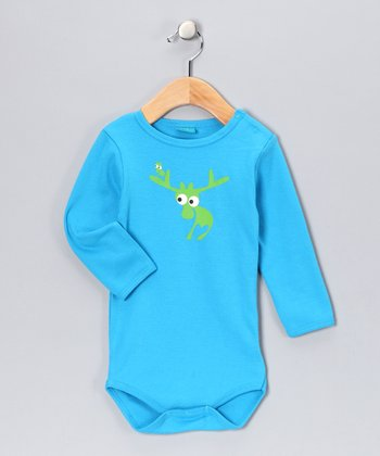 Turquoise Evert the Moose Bodysuit - Infant