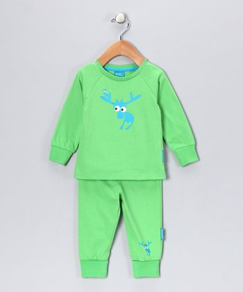 Green Evert the Moose Pajama Set - Infant & Kids