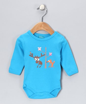 Turquoise Critter Friend Bodysuit - Infant