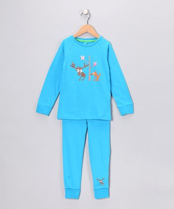 Turquoise Critter Friend Pajama Set - Infant & Kids