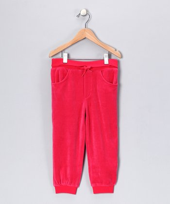 Red Vera the Owl Velour Sweatpants - Infant, Toddler & Girls