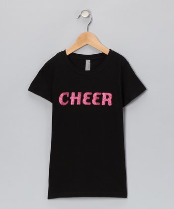 Black Glitter 'Cheer' Tee - Toddler & Girls