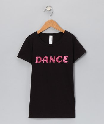 Black Glitter 'Dance' Tee - Toddler & Girls