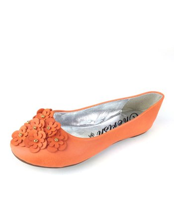 Elegant Footwear Orange Ahava Ballet Flat