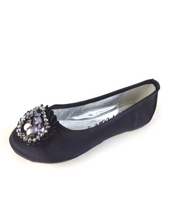 Elegant Footwear Black Mermaid Bejeweled Ballet Flat