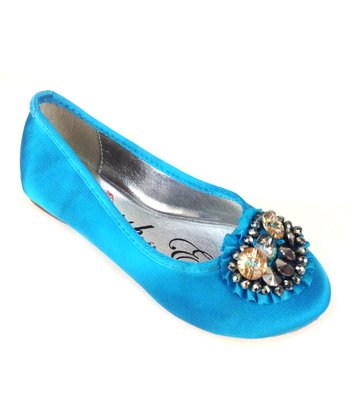 Elegant Footwear Blue Mermaid Bejeweled Ballet Flat