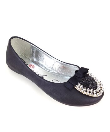 Elegant Footwear Black Mermaid Bow Ballet Flat
