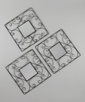 Black Square Scroll Jewel Mirrors - Set of Three