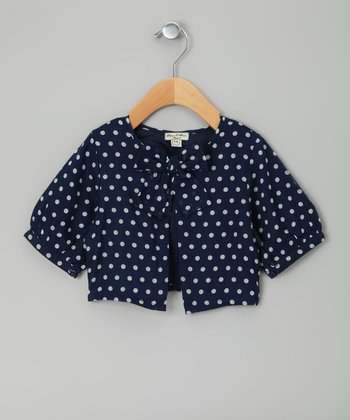 Navy & Gray Polka Dot Informelle Shrug - Toddler & Girls