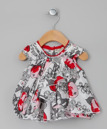 Gray Fruit Papillotte Dress - Infant & Toddler