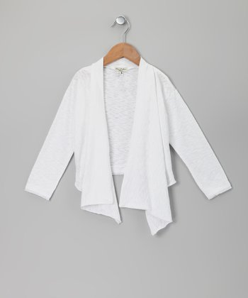 White Rochelle Open Cardigan - Toddler & Girls