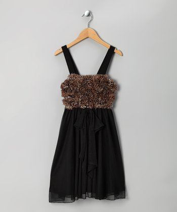 Black & Brown Rosette Dress