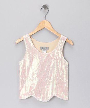 Cream Sequin Tulip Tank