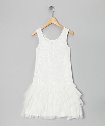 White Sequin Tiered Ruffle Dress