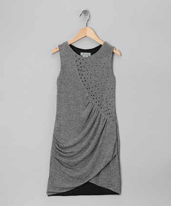 Gray Rhinestone Ruched Dress