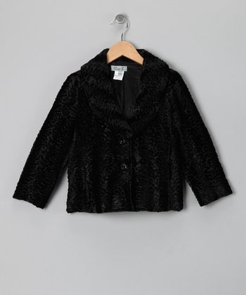 Black Stripe Faux Fur Jacket